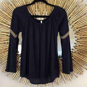 Navy Sage Off The Shoulder Blouse